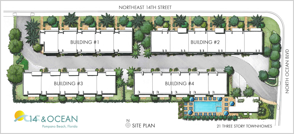 14th ocean townhomes pompano beach fl for Motor pool floor plan